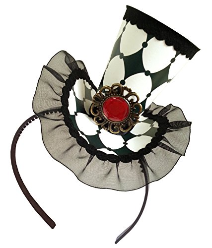 Queen Of Heart Chess Checkered Mad Hatter Mini Top Hat Headband Victorian Alice in Wonderland Decoration - Mad Hatters Tea Party Costume