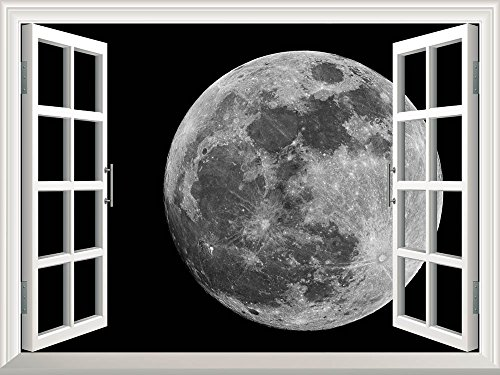 Removable Wall Sticker Wall Mural Full Moon against Black Universe Space Creative Window View Wall Decor