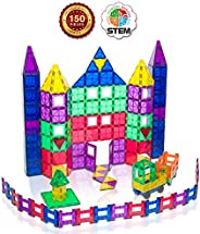 Playmags 150 Piece Set - Stronger Magnets Sturdy Super Durable with Vivid Clear Color Tiles - 18 Piece Clickin