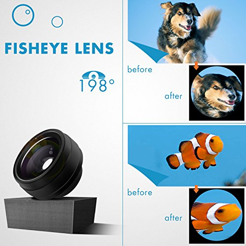 Phone Camera Lens 3 in 1, 20X Macro Lens, 198° Fisheye Lens, 0.62X Wide Angle Lens Clip On Universal HD Cell Phone Lens Kit Compatible Samsung iPhone6S/6Plus/6/Se/5/5S, Android Smartphones and More by COOLOO (Image #4)
