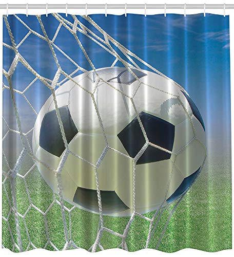 Soccer Goal Net White and Black Football Photo Design Green Field Grass Success Blue Sky Ball Sports Lover Home Bath Decor Designs for Teenagers Fabric Shower Curtain Exclusive to Pinklim - Extra Long