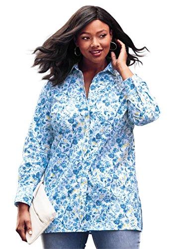 18f1b1d96c Jessica London Women s Plus Size Long Sleeve Collared Poplin Tunic - White  Lemon Sorbet Vintage Floral