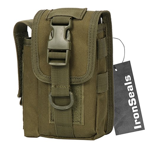 IronSeals 1000D Nylon Smartphone Holster Outdoor Tool Waist Pouch Case with Belt Loop & Belt Latch for Accessories & Smartphones and Flashlight - Ranger Green