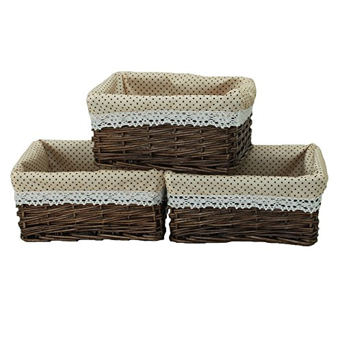 KINGWILLOW Wicker Storage Basket with Liner 3pcs Small Willow Rectangular Handmade Basket for Sundries neatening, (3pcs) (With Baskets Wicker Liners)