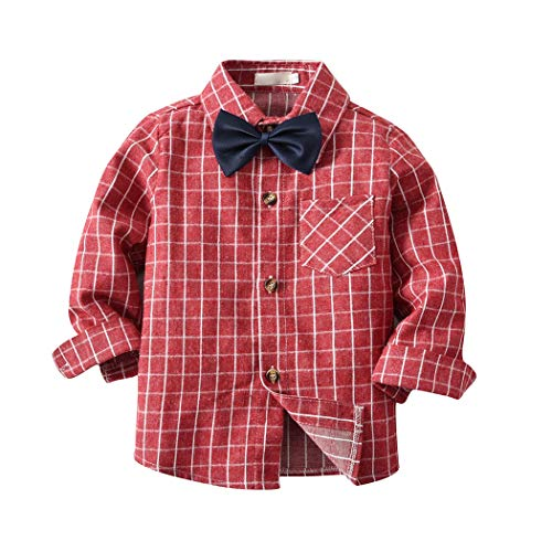 FUNOC Baby Kids Toddler Boys Cotton Plaid Shirt and Bow Tie All Season Long Sleeve Button Down Gentle Shirt (1-7Y)
