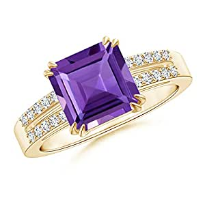 Angara Double Claw Amethyst and Diamond Twin Shank Ring in Rose Gold rO1fs