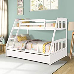Bedroom 2Krmstr Twin Over Full Bunk Beds,Solid Wood Bunk Bed Bedroom Furniture with Two Drawers,Safety Guard Rails,Removable… bunk beds