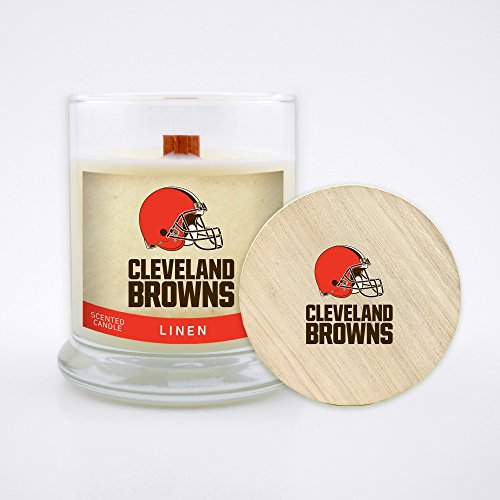 Worthy Promo NFL Cleveland Browns Linen Scented Soy Wax Candle, Wood Wick and Lid, 8 oz