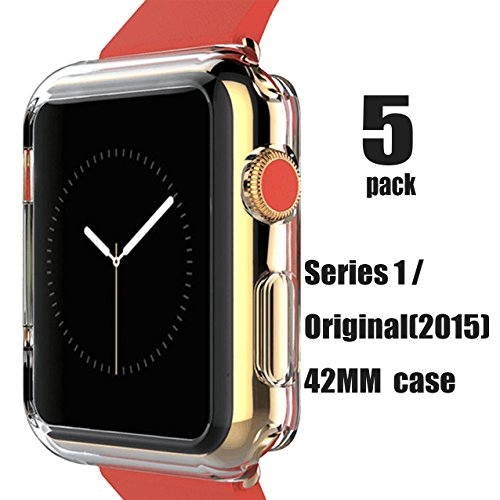 [5pack]Crystal watch 42MM Case , CaseHQ Ultra Slim 0.3MM Lightweight Polycarbonate Hard Protective Bumper Cover for All Versions 42mm Apple Watch Series 1/ Original (2015)Sport & Edition-Clear (Runde Rosa)
