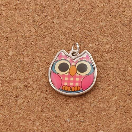 Calvas 100PCS Enamel Grid Owl Charm Beads 4Colors Two-Sided Pendants 18.8x19.3mm Jewelry DIY T1557 - (Color: 3) ()