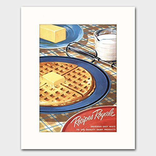 "Cookbook Wall Art w/Mat (Retro Kitchen Decor, 1950s Food Print, Diner Breakfast Cooking Artwork) ""Recipes Royale"" 51XyONTDnaL"
