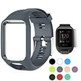 (US) TUSITA WristBand for TomTom Runner 2 3/Spark/Spark 3/Golfer 2/Adventurer, Replacement Silicone Band Strap Accessory (Grey)
