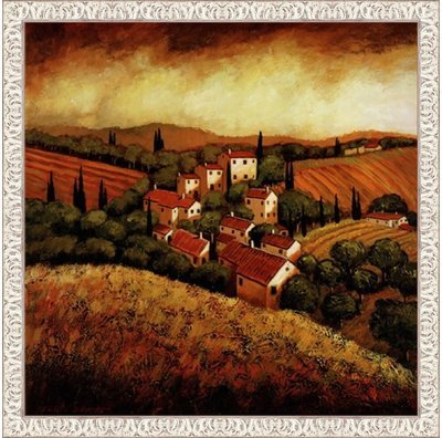 Framed Tuscan Hillside Village- 24x24 Inches - Art Print (White Wash (Tuscan Hillside Village)