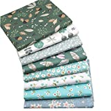8pcs 18 x 22 inches (46cmx56cm) Green Floral Print 100% Cotton Fabric Fat Quarter Bundles Patchwork Sewing Scrapbooking Quilting Pattern Artcraft