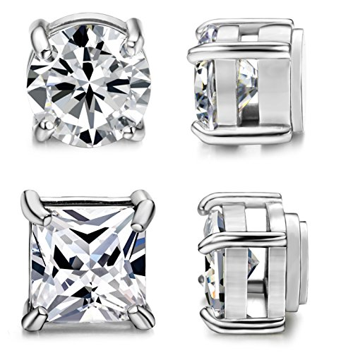 ORAZIO 2 Pairs Stainless Steel Magnetic Stud Earrings for Womens Mens Non Piercing Cubic Zirconia 6mm