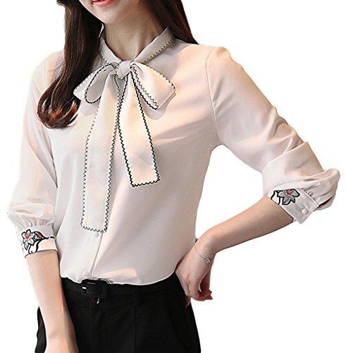 凝縮する手段ひどく[美しいです] レディース 春 夏 ブラウス 長袖 シースルー フォーマル ラッパ袖 シャツ 刺繍 蝶結び