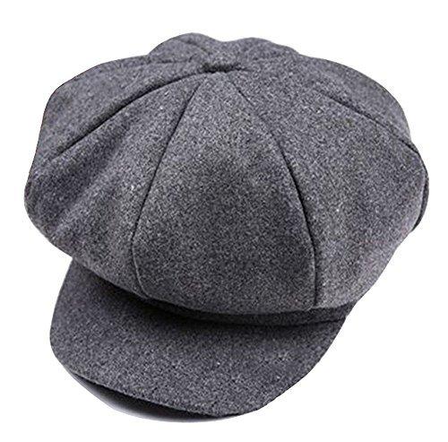 HugeStore Baby Toddlers Newsboy Cap Berets Beanie Hat Cap Peaked Hat Cap for Boys Girls Grey ()