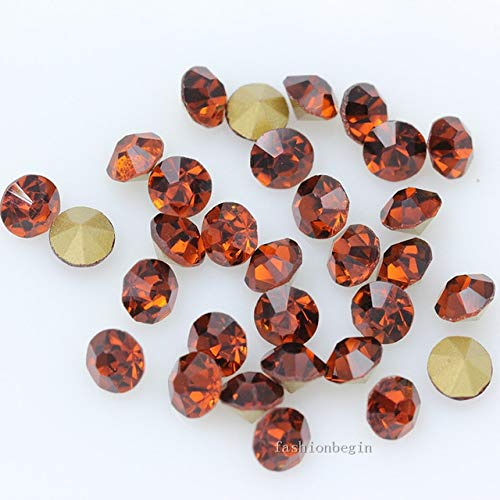 Pukido 144p ss1 1mm Round Assorted Pointed Foiled Back Czech Crystal Faceted Glass Rhinestones Brooch Watch Jewelry Repair Loose Beads - (Color: Smoked Topaz) from Pukido