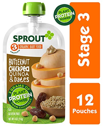 Sprout Organic Stage 3 Baby Food Pouches with Plant Powered Protein, Butternut Chickpea Quinoa & Dates, 4 Ounce (Pack of 12)