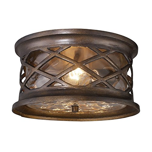 Elk Barrington Gate - Elk Lighting Barrington Gate 2 Light Outdoor Flush Mount in Bronze