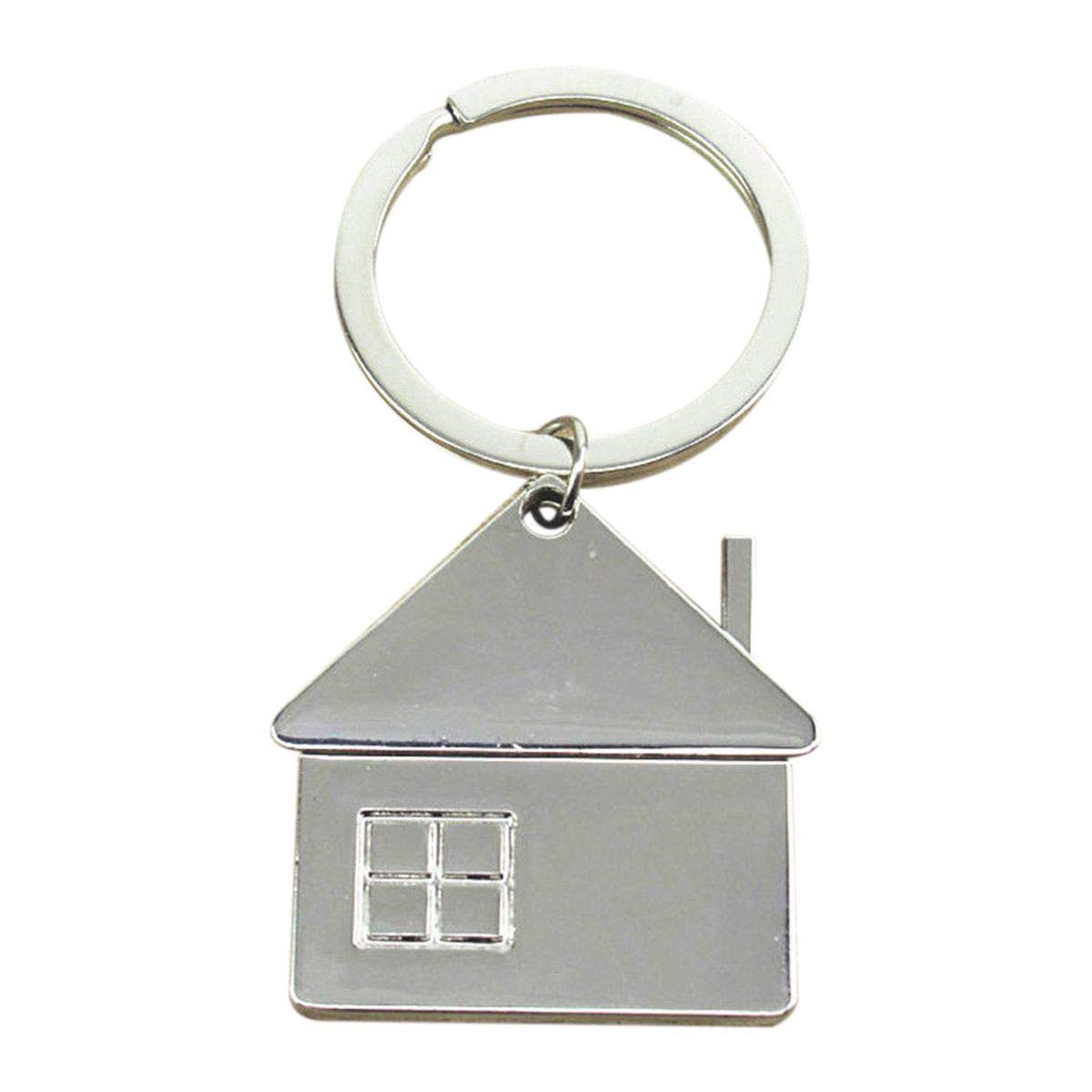 TOOGOO House Home Keyring Metal Pendant Keyfob Chrome Key Bag Chain Wedding Gift New