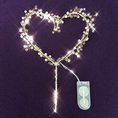- Ladovin Love Heart Pearl Cake Toppers with LED Light for Birthday Wedding Anniversary Party Decor
