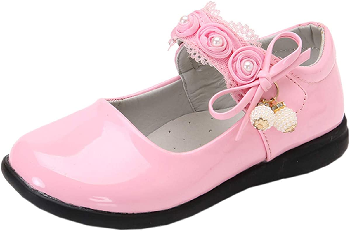 DADAWEN Girls T-Strap School Uniform Dress Shoe Mary Jane Princess Flat
