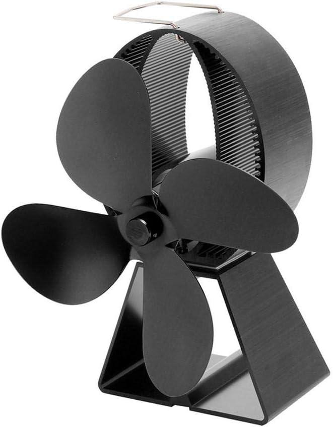 SHOH - Ventilador de Horno para Estufas de Chimenea (Hoja de Arce, 4 aspas, para Horno de leña, Ahorro de Combustible, Ventilador de Horno de Aluminio anodizado, para quemadores de Madera)