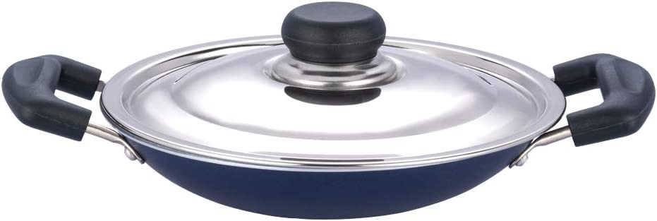 Tabakh by Vinod Appachetty Non Stick Appam Pan with Stainless Steel Lid, 215mm