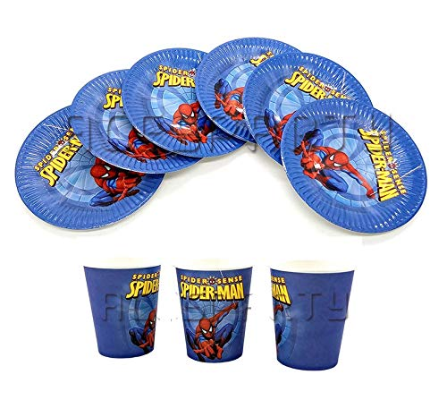 (Astra Gourmet Spiderman Party Dessert Plates and Cups for Kids Birthday Party Supplies - Include 12 Cups and 12)