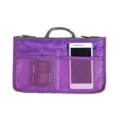 Honei Makeup Organizer Bag Travel Compartment Handbag with 13 Inserts holder Large Liner Organizing Tote Purse with hanging handle Purple