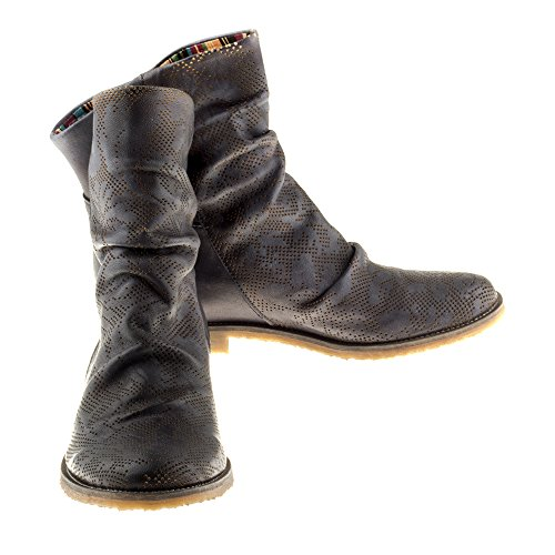 Felmini Zapatos Para Mujer - Enamorarse com Clash 8888 - Botas Cowboy & Biker - Cuero Genuino - Gris Oscuro Gris oscuro