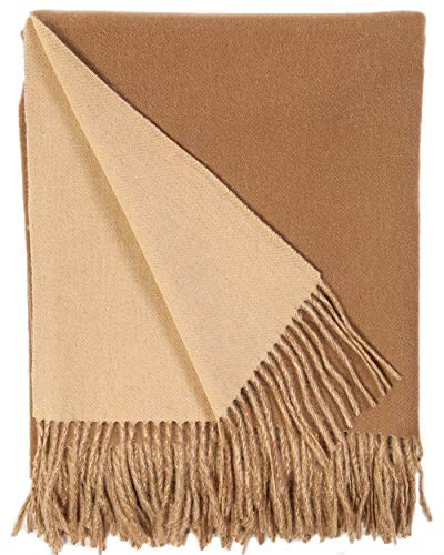 Alashan Cashmere Blend Double Faced Throw - Camel & Apricot