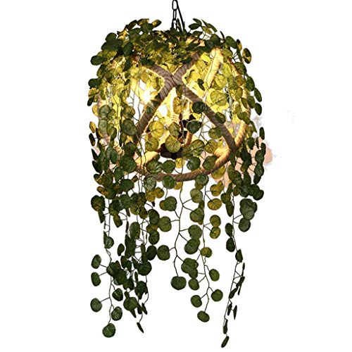 Chandeliers Wrought Iron Simulation Green Plant Restaurant Bedroom Living Room Aisle Warm Party (Color : Green, Size : 353530cm) ()