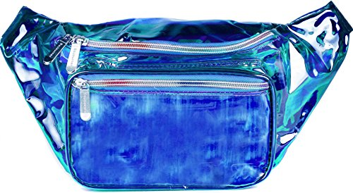 SoJourner Fanny Pack - Galaxy, Rave, Festival, Holographic (Multiple Styles) (Transparent - Blue)