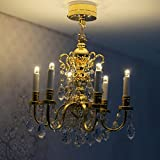 BESTLEE 1/6 and 1/12 Dollhouse Miniature Luxurious Gold 6-Arm Crstal Candle Chandelier LED Ceiling Light