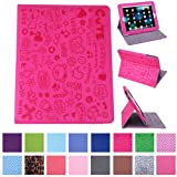 HDE iPad 1 Case - Slim Fit Cute Kid's Leather Cover Stand Folio with Magnetic Closure for Apple iPad 1 1st Generation (Hot Pink Cartoon)
