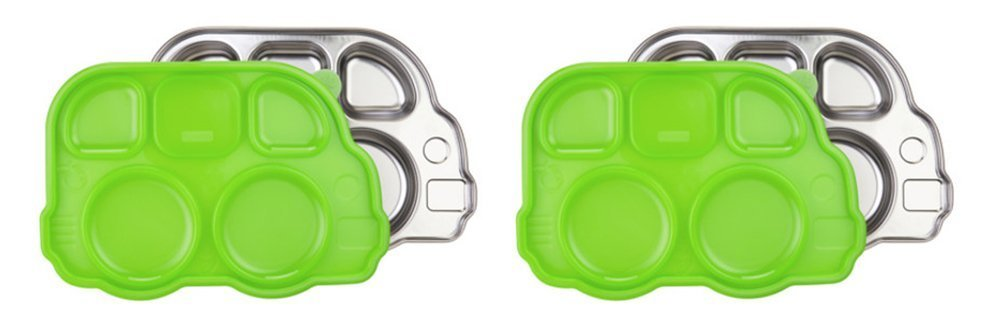 Innobaby Din Din Smart Stainless Divided Platter with Sectional Lid (2 Trays, Green) by Innobaby   B00MWGTH9U