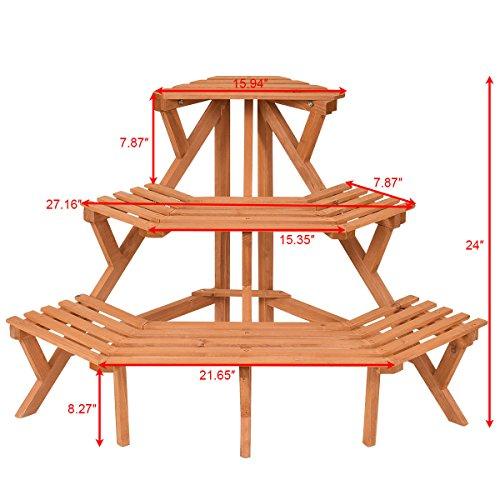 3 Tier Wood Corner Flower Stand Plant Ladder Pot Holder Display Rack Shelf ()