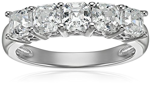 Asscher Cubic Zirconia Ring - Platinum or Gold Plated Sterling Silver Asscher-Cut 5-Stone Ring made with Swarovski Zirconia, Size 6
