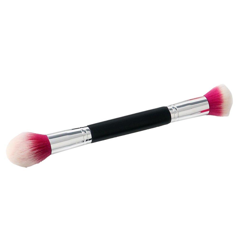 MagiDeal Pinceau de Maquillage à Double Embout Manche en Bois de Poudre Fond de Teint Fard à Paupières Contour Yeux Brosse de Sourcils - #D