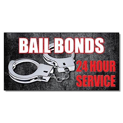 Bail Bonds 24 Hour Service Business DECAL STICKER Retail Store Sign 9.5 x 24 inches by Fastasticdeals
