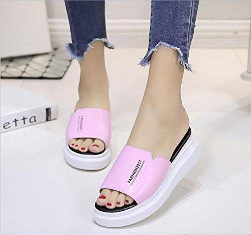 Una fuente zapatillas femeninos sandalias gruesas corteza del mollete y zapatillas marea salvaje sólido Pink