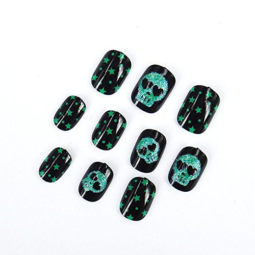 C-Pioneer 20pcs Halloween False Nails Artificial Fake Nails Art Decoration Nail Tips for Kids & Adults -