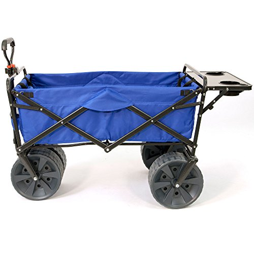 Cart Adjustable Utility Compact (Mac Sports Heavy Duty Collapsible Folding All Terrain Utility Wagon Beach Cart (Blue/Black with Table))