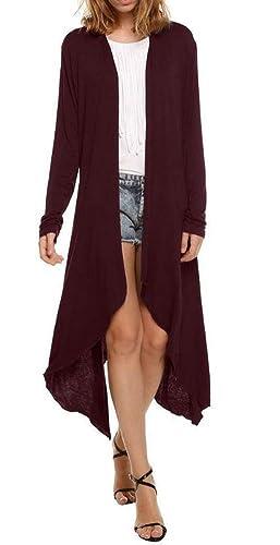Ibelive Mujeres Cascada Cárdigan Manga Larga Casual Asimétrico Hem Cardigans Largos Abierto Frente Poncho Abajo Coat