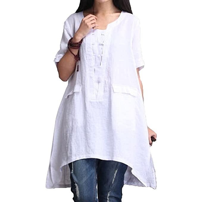 Juleya Camisa de Algodón Casual para Mujer 1/2 Manga Larga Casual Loose Top Sección