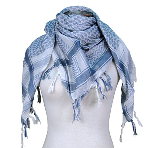 - Premium Shemagh Head Neck Scarf - White/Blue