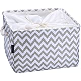 AMEON Storage Baskets,Extra Large Toy Storage Basket Fabric Collapsible Baskets w Handles for Home,Shelves,Nursery,Clothes Towel Organizer Laundry Bins (Gray Zip, 17.7'' L x 13.8'' W x 9.3'' H)