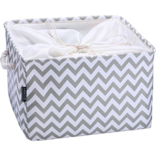 AMEON Storage Baskets,Extra Large Toy Storage Basket Fabric Collapsible Baskets w Handles for Home,Shelves,Nursery,Clothes Towel Organizer Laundry Bins (Gray Zip, 17.7'' L x 13.8'' W x 9.3'' H) by AMEON